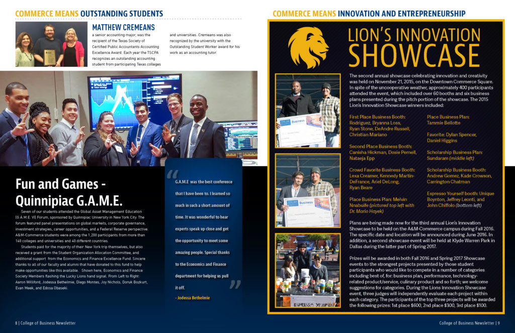 College of Business Newsletter - Print Design by Luminous Productions